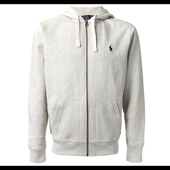 Polo Ralph Lauren Performance Grey Navy Full Zip Sweatshirt Track Jacket NWT